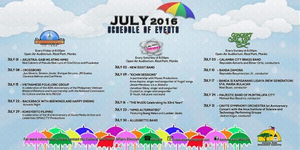 20160705 Schedule of Events at Rizal Park