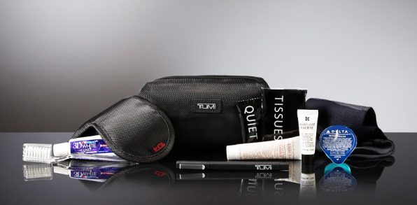 2016 Delta One Tumi Amenity Kits- These images are protected by copyright. Delta has acquired permission from the copyright owner to the use the images for specified purposes and in some cases for a limited time. If you have been authorized by Delta to do so, you may use these images to promote Delta, but only as part of Delta-approved marketing and advertising. Further distribution (including proving these images to third parties), reproduction, display, or other use is strictly prohibited.